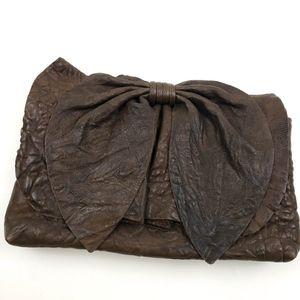 Susan Farber Brown Leather Bow Clutch Bag